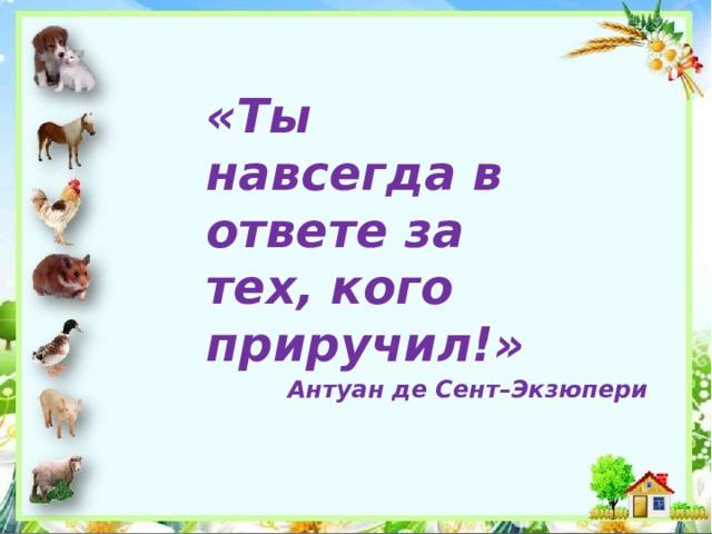 «Ты навсегда в ответе за тех, кого приручил!» Антуан де Сент–Экзюпери