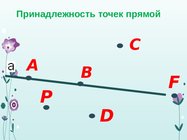 Принадлежность точек прямой С А В F P D
