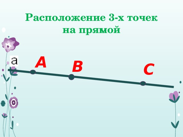 Расположение 3-х точек на прямой А В С