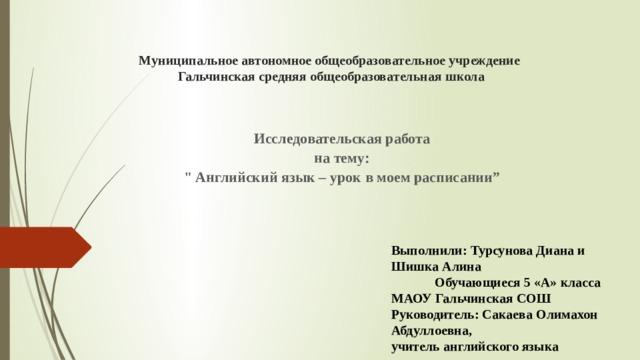 Муниципальное автономное общеобразовательное учреждение  Гальчинская средняя общеобразовательная школа Исследовательская работа на тему: