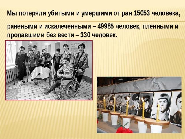 Мы потеряли убитыми и умершими от ран 15053 человека, ранеными и искалеченными – 49985 человек, пленными и пропавшими без вести – 330 человек.