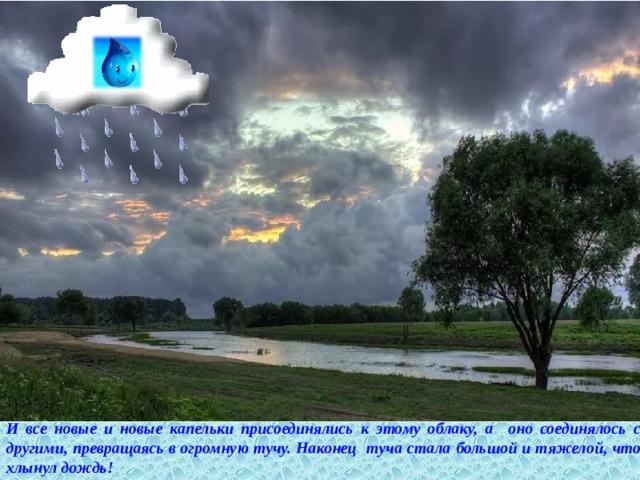 И все новые и новые капельки присоединялись к этому облаку, а оно соединялось с другими, превращаясь в огромную тучу. Наконец туча стала большой и тяжелой, что хлынул дождь!