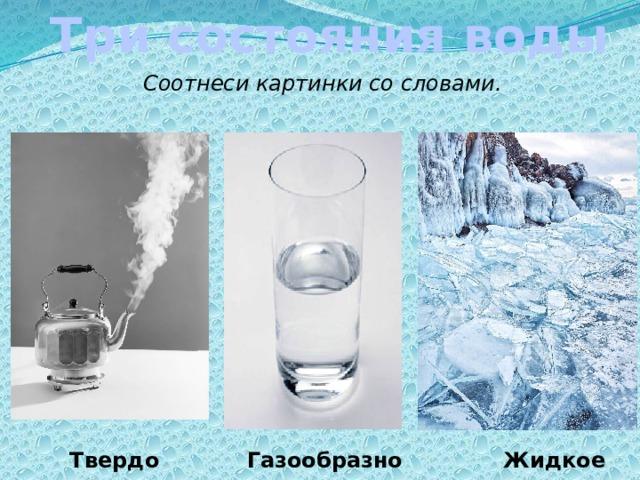 Три состояния воды Соотнеси картинки со словами. Перемещение картинок Твердое Газообразное Жидкое