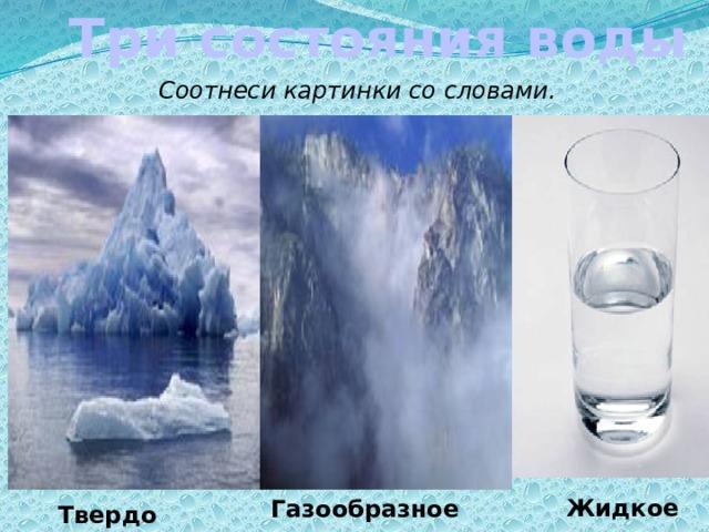 Три состояния воды Соотнеси картинки со словами. Перемещение картинок Жидкое Газообразное Твердое