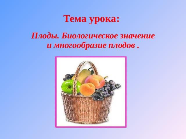 Тема урока: Плоды. Биологическое значение и многообразие плодов .