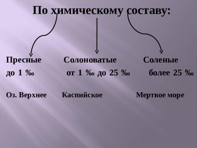По химическому составу:   Пресные   Солоноватые Соленые до 1 ‰    от 1 ‰ до 25 ‰ более 25 ‰      Оз. Верхнее Каспийское    Мертвое море