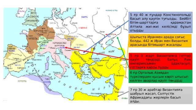5 ғр 40 ж ғұндар Констинопольді басып алу қаупін туғызды. Бейбіт бітім-шарттарға қарамастан Аттила жиі-жиі келісімді бұзып отырды Шығыста Иранмен арада соғыс болды. 442 ж Иран мен Византия арасында бітімшарт жасалды 5 ғр ІІ жарт Византияға готтар қауіп төндірді. Батыс Рим империясымен одақтасып, готтарға қарсы тұрды 6 ғр Орталық Азиядан түркілерден қысым көріп ығысып келген аварлар қауіп төндірді 7 ғр 30 ж арабтар Византияға шабуыл жасап, Солтүстік Африкадағы жерлерін басып алды.
