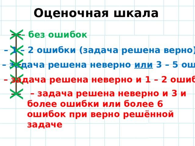 Оценочная шкала Х Х Х Х Х – без ошибок – 1 – 2 ошибки (задача решена верно) – задача решена неверно или 3 – 5 ошибок – задача решена неверно и 1 – 2 ошибки – задача решена неверно и 3 и более ошибки или более 6 ошибок при верно решённой задаче