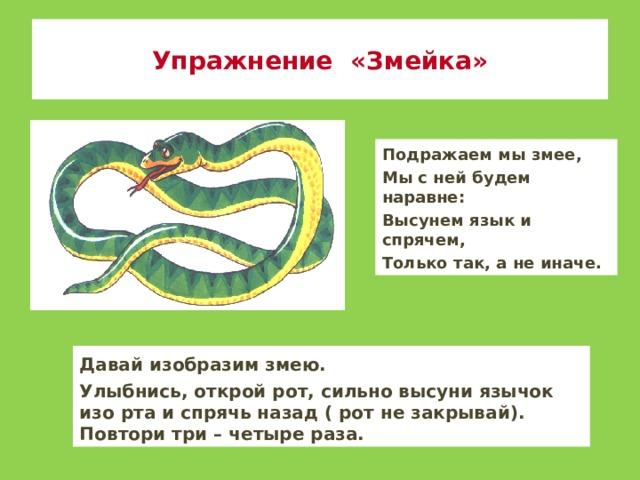 Упражнение «Змейка» Подражаем мы змее, Мы с ней будем наравне: Высунем язык и спрячем, Только так, а не иначе. Давай изобразим змею. Улыбнись, открой рот, сильно высуни язычок изо рта и спрячь назад ( рот не закрывай). Повтори три – четыре раза.