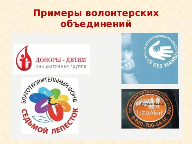 Примеры волонтерских объединений