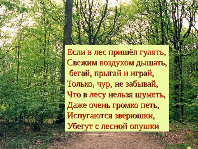 Если в лес пришёл гулять,  Свежим воздухом дышать,  бегай, прыгай и играй,  Только, чур, не забывай,  Что в лесу нельзя шуметь,  Даже очень громко петь,  Испугаются зверюшки,  Убегут с лесной опушки