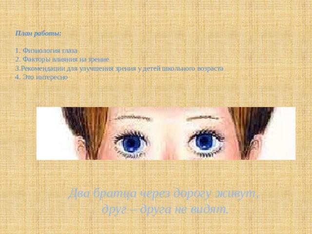 План работы:   1. Физиология глаза  2. Факторы влияния на зрение  3.Рекомендации для улучшения зрения у детей школьного возраста  4. Это интересно     Два братца через дорогу живут,  друг – друга не видят.
