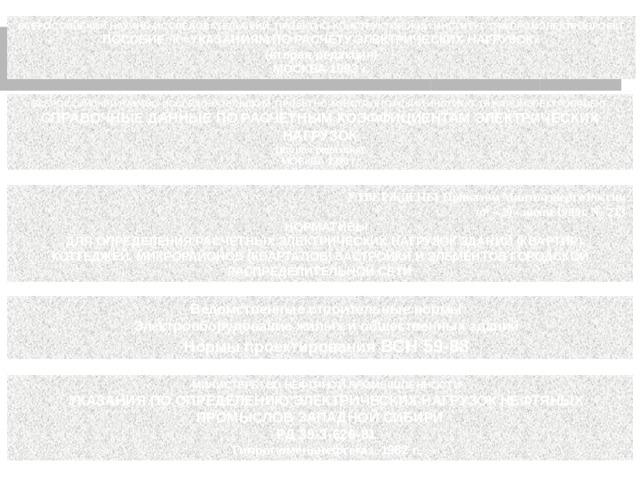 ВСЕРОССИЙСКИЙ НАУЧНО-ИССЛЕДОВАТЕЛЬСКИЙ, ПРОЕКТНО-КОНСТРУКТОРСКИЙ ИНСТИТУТ ТЯЖПРОМЭЛЕКТРОПРОЕКТ ПОСОБИЕ К «УКАЗАНИЯМ ПО РАСЧЕТУ ЭЛЕКТРИЧЕСКИХ НАГРУЗОК» (вторая редакция) Москва 1993 г . ВСЕРОССИЙСКИЙ НАУЧНО-ИССЛЕДОВАТЕЛЬСКИЙ, ПРОЕКТНО-КОНСТРУКТОРСКИЙ ИНСТИТУТ ТЯЖПРОМЭЛЕКТРОПРОЕКТ СПРАВОЧНЫЕ ДАННЫЕ ПО РАСЧЕТНЫМ КОЭФФИЦИЕНТАМ ЭЛЕКТРИЧЕСКИХ НАГРУЗОК (вторая редакция) Москва 1990 г . УТВЕРЖДЕНЫ Приказом Минтопэнерго России от «29» июня 1999г. № 213 НОРМАТИВЫ ДЛЯ ОПРЕДЕЛЕНИЯ РАСЧЕТНЫХ ЭЛЕКТРИЧЕСКИХ НАГРУЗОК ЗДАНИЙ (КВАРТИР), КОТТЕДЖЕЙ, МИКРОРАЙОНОВ (КВАРТАЛОВ) ЗАСТРОЙКИ И ЭЛЕМЕНТОВ ГОРОДСКОЙ РАСПРЕДЕЛИТЕЛЬНОЙ СЕТИ Ведомственные строительные нормы Электрооборудование жилых и общественных зданий Нормы проектирования ВСН 59-88 МИНИСТЕРСТВО НЕФТЯНОЙ ПРОМЫШЛЕННОСТИ УКАЗАНИЯ ПО ОПРЕДЕЛЕНИЮ ЭЛЕКТРИЧЕСКИХ НАГРУЗОК НЕФТЯНЫХ ПРОМЫСЛОВ ЗАПАДНОЙ СИБИРИ РД 39-3-626-81 Гипротюменьнефтегаз, 1982 г.