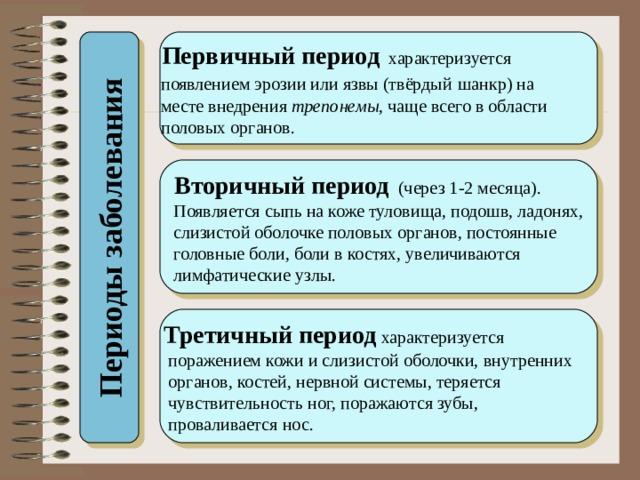 Периоды заболевания  Первичный период характеризуется  появлением эрозии или язвы (твёрдый  шанкр) на  месте внедрения трепонемы , чаще всего в области  половых органов.  Вторичный период (через 1-2 месяца).  Появляется сыпь на коже туловища, подошв, ладонях,  слизистой оболочке половых органов, постоянные  головные боли, боли в костях, увеличиваются  лимфатические узлы. Третичный период характеризуется  поражением кожи и слизистой оболочки, внутренних  органов, костей, нервной системы, теряется  чувствительность ног, поражаются зубы,  проваливается нос.