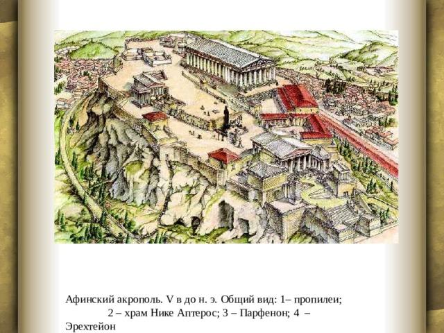 Афинский акрополь. V в до н. э. Общий вид: 1– пропилеи; 2 – храм Нике Аптерос; 3 – Парфенон; 4 – Эрехтейон