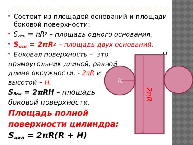 Площадь поверхности цилиндра 2πR Состоит из площадей оснований и площади боковой поверхности: S осн = πR 2  – площадь одного основания. S осн = 2πR 2  – площадь двух оснований. Боковая поверхность – это Н прямоугольник длиной, равной длине окружности, - 2πR и высотой – Н. S бок = 2πRН – площадь боковой поверхности. Площадь полной поверхности цилиндра: S цил = 2πR(R + Н)   R