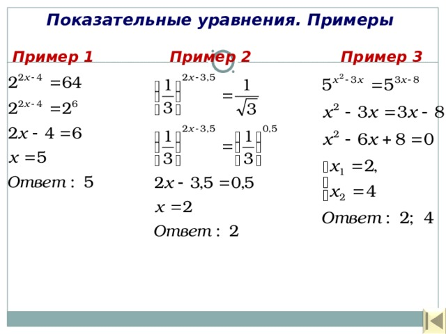 Показательные уравнения. Примеры Пример 1 Пример 2 Пример 3