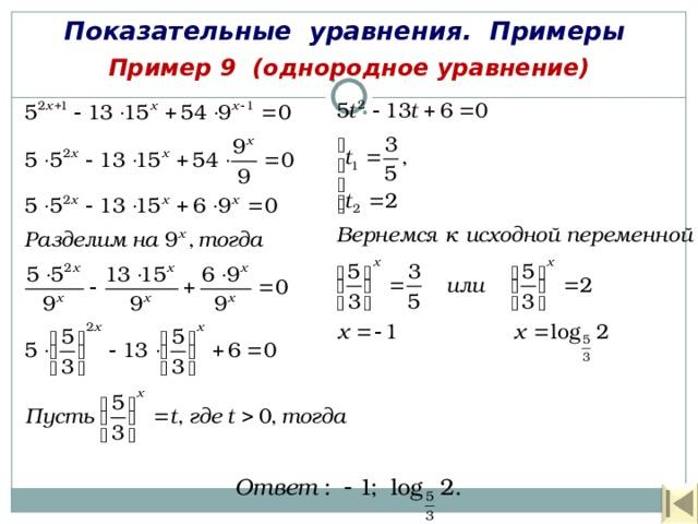 Показательные уравнения. Примеры Пример 9 (однородное уравнение)