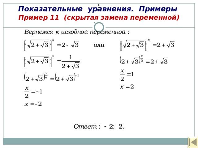 Показательные уравнения. Примеры + = 4  Пример 11  (скрытая замена переменной)