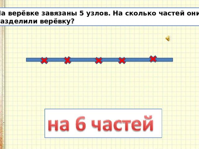 На верёвке завязаны 5 узлов. На сколько частей они разделили верёвку?