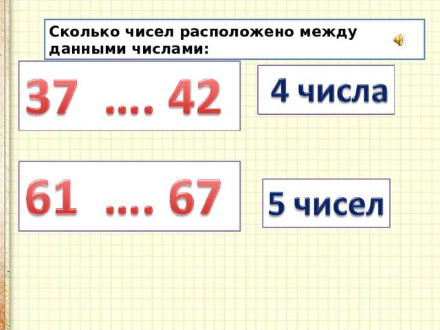 Сколько чисел расположено между данными числами: