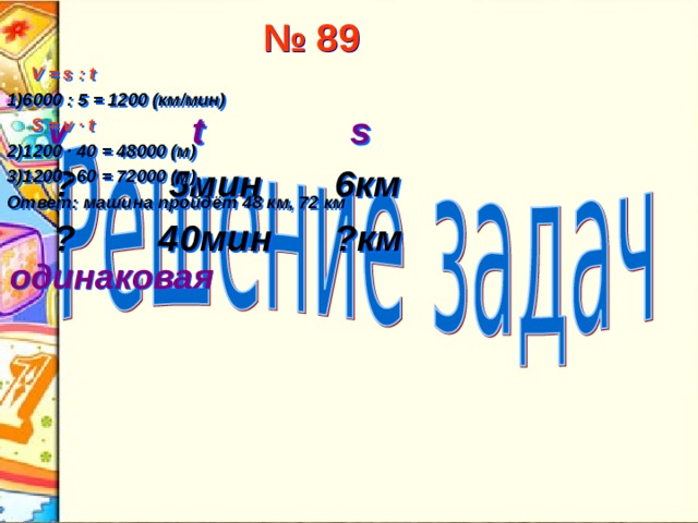 № 89  V = s : t 1)6000 : 5 = 1200 (км/мин)  S = v ∙ t  2)1200 ∙ 40 = 48000 (м) 3)1200 ∙ 60 = 72000 (м) Ответ:  машина пройдёт 48 км, 72 км   v  t  s  ? 5мин 6км  ? 40мин ?км одинаковая