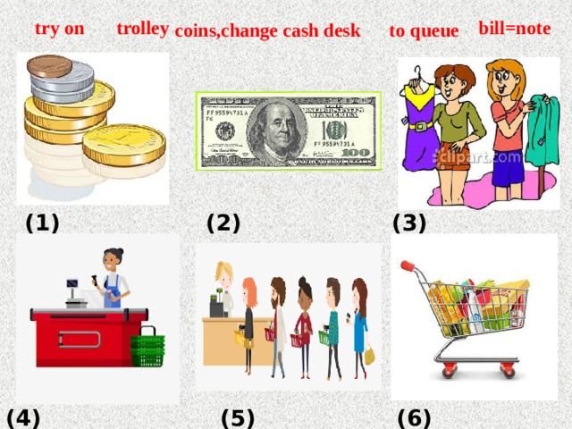 bill=note try on coins,change to queue cash desk trolley (1) (2) (3) (4) (5) (6)