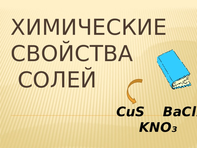 ХИМИЧЕСКИЕ  СВОЙСТВА  СОЛЕЙ CuS BaCl₂  KNO₃