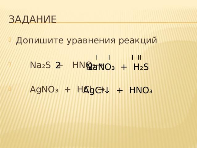 Задание Допишите уравнения реакций  Na ₂ S + HNO ₃→   AgNO ₃ + HCl → I I I II 2 NaNO₃ + H₂S 2 AgCl ↓ + HNO₃