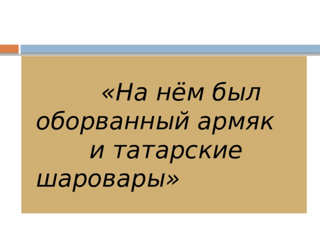 «На нём был оборванный армяк и татарские шаровары»
