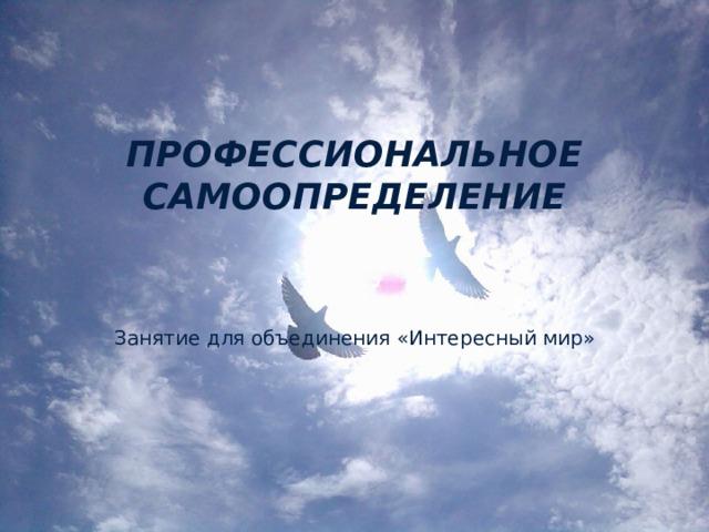 ПРОФЕССИОНАЛЬНОЕ САМООПРЕДЕЛЕНИЕ   Занятие для объединения «Интересный мир»