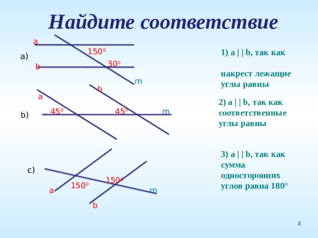 Найдите соответствие a 150 0 1) a     b, так как накрест лежащие углы равны a) 30 0 b m b a 2) a     b, так как соответственные углы равны 45 0 m 45 0 b) 3) a     b, так как сумма односторонних углов равна 180° c) 150 0 150 0 a m b