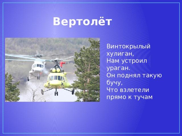 Вертолёт Винтокрылый хулиган,  Нам устроил ураган.  Он поднял такую бучу,  Что взлетели прямо к тучам