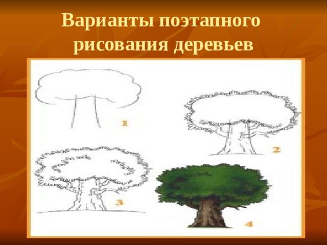 Варианты поэтапного рисования деревьев