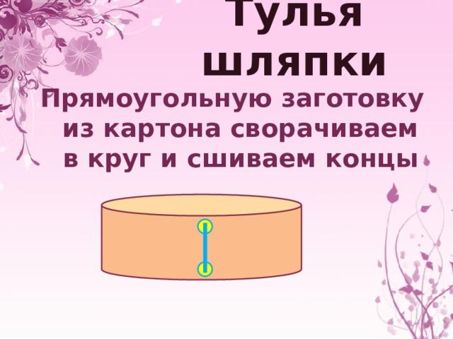 Тулья шляпки Прямоугольную заготовку из картона сворачиваем в круг и сшиваем концы