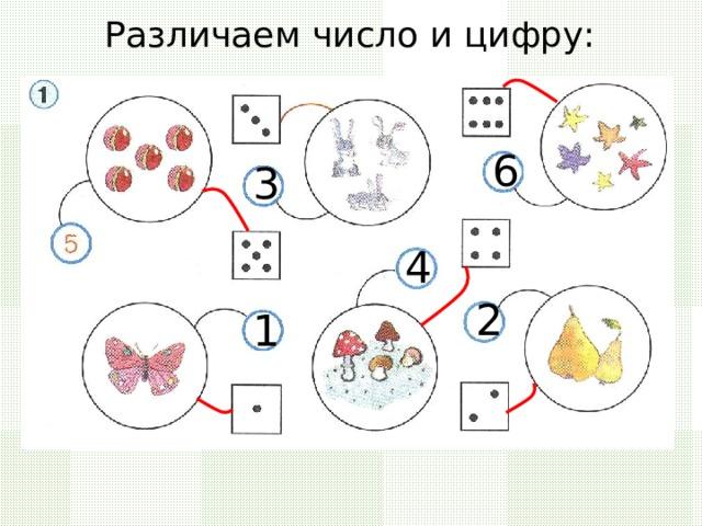 Различаем число и цифру: 6 3 4 2 1