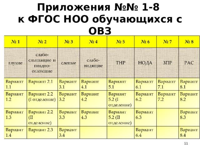 Приложения №№ 1-8  к ФГОС НОО обучающихся с ОВЗ