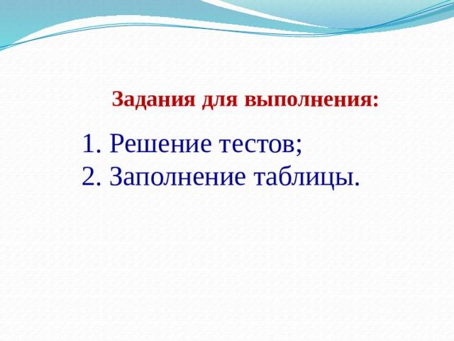 Задания для выполнения: