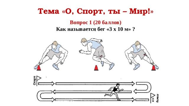 Тема «О, Спорт, ты – Мир!» Вопрос 1 (20 баллов) Как называется бег «3 х 10 м» ?
