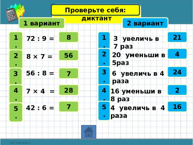 Математический диктант Проверьте себя: 1 вариант 2 вариант 21 1 . 8 1 . 72 : 9 =  3 увеличь в 7 раз  2 . 4 2 . 20 уменьши в 5раз 56 8 × 7 =  3 . 24 7 56 : 8 =  3 . 6 увеличь в 4 раза  28 4 . 4 . 2 7 × 4 =  16 уменьши в 8 раз  Примеры и ответы открываются по щелчку 16 7 5 . 4 увеличь в 4 раза 42 : 6 = 5 . 17