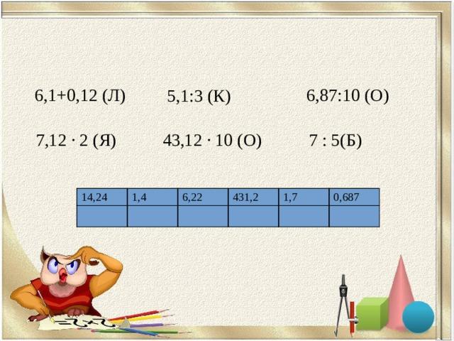 6,1+0,12 (Л ) 6,87:10 (О) 5,1:3 (К) 43,12 ∙ 10 (О) 7 : 5(Б) 7,12 ∙ 2 (Я) 14,24 1,4 6,22 431,2 1,7 0,687