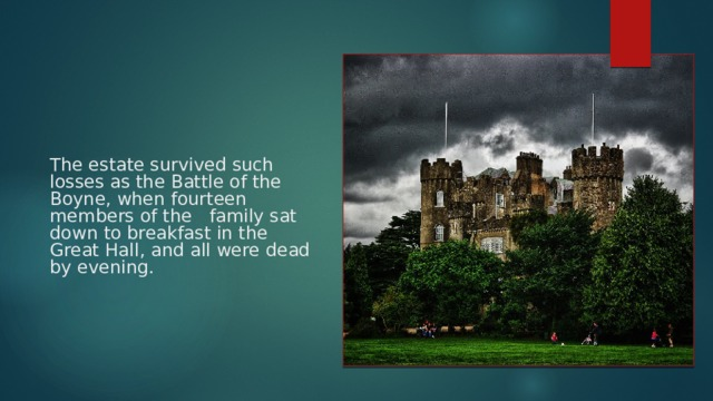 The estate survived such losses as the Battle of the Boyne, when fourteen members of the family sat down to breakfast in the Great Hall, and all were dead by evening.