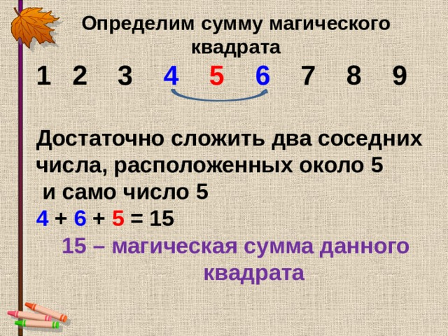 Определим сумму магического квадрата 2 3 4  5  6 7 8 9  Достаточно сложить два соседних числа, расположенных около 5  и само число 5 4 + 6 + 5 = 15 15 – магическая сумма данного квадрата