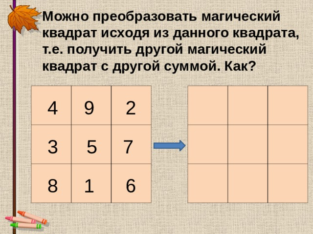 Можно преобразовать магический квадрат исходя из данного квадрата, т.е. получить другой магический квадрат с другой суммой. Как?                   4 9 2 7 5 3 8 1 6