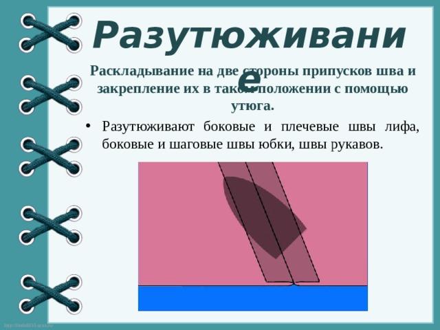 Разутюживание Раскладывание на две стороны припусков шва и закрепление их в таком положении с помощью утюга.
