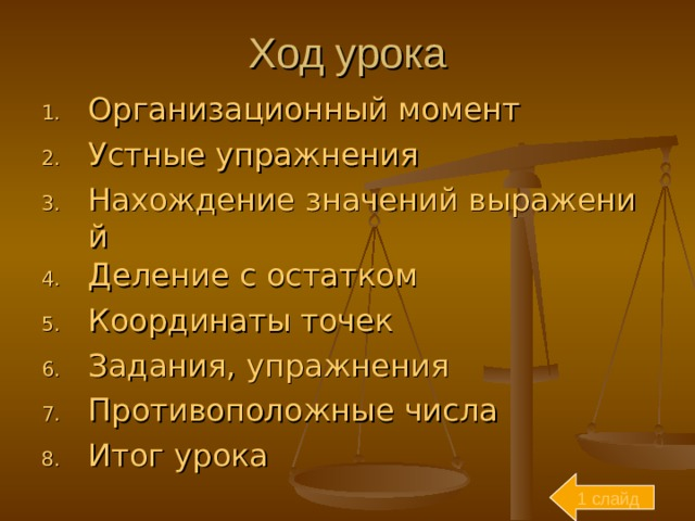 Ход урока Организационный момент Устные упражнения Нахождение значений выражений Деление с остатком Координаты точек Задания, упражнения Противоположные числа Итог урока 1 слайд