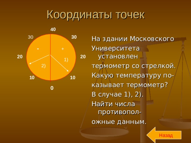 Координаты точек 40 30 30 На здании Московского Университета установлен термометр со стрелкой. Какую температуру по- казывает термометр? В случае 1), 2). Найти числа противопол- ожные данным. - + 20 20 1) 2) 10 10 0 Назад