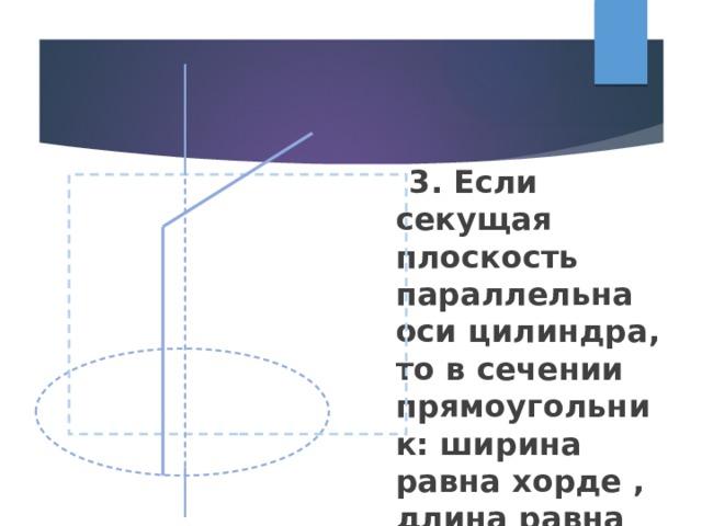 3. Если секущая плоскость параллельна оси цилиндра, то в сечении прямоугольник: ширина равна хорде , длина равна высоте.