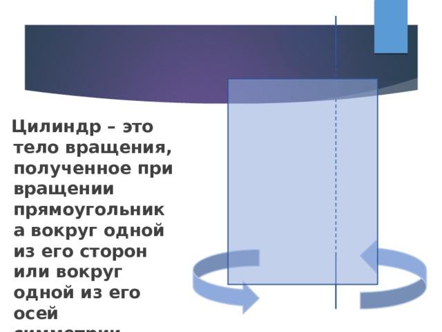 Цилиндр – это тело вращения, полученное при вращении прямоугольника вокруг одной из его сторон или вокруг одной из его осей симметрии.