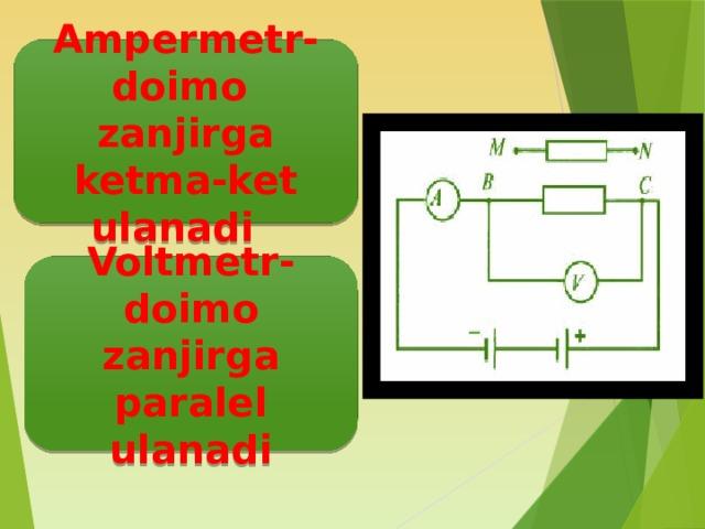 Ampermetr-doimo zanjirga ketma-ket ulanadi Voltmetr-doimo zanjirga paralel ulanadi
